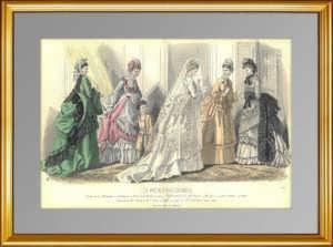 Парижская мода (N1530). 1870г. Антикварная гравюра. ВИП подарок женщине