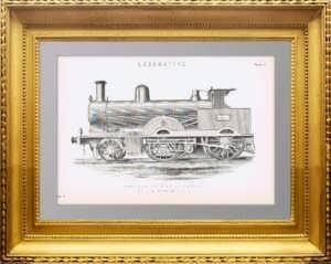 Курьерский паровоз Compound Вебба. 1880г. Старинная гравюра.