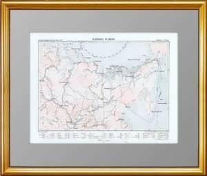 Сибирские экспедиции XVII-XIX веков. 1880г. Антикварная историческая карта