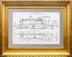 Tанк-паровоз Нейлсон. 1880г. Старинная гравюра. Подарок железнодорожнику
