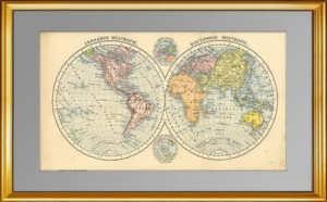 Карта мира (полушария). 1896г. Старинная карта - антикварный подарок