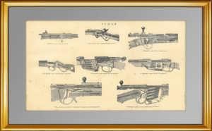 Ружья. 1896г. Старинная гравюра. Подарок охотнику