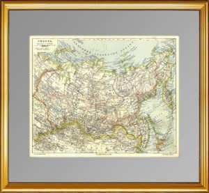 Сибирь.  1899г. Старинная карта — антикварный VIP подарок
