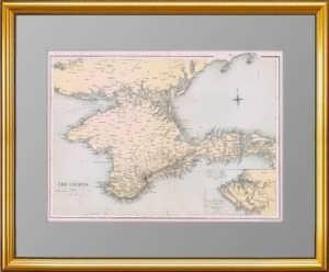 Крым и план Севастополя. 1856г. Антикварная карта