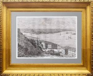 Нижний Новгород. Стрелка. 1880г. Старинная гравюра - антикварный подарок