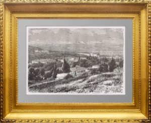 Пятигорск. Вид с горы Машук. 1880г. Старинная гравюра - антикварный подарок