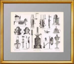 Лампы. 1886г. Старинная гравюра - антикварный подарок