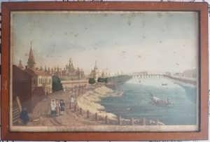 Вид на Кремль и его окрестности в Москве. 1820г. (ок.) Антикварная гравюра