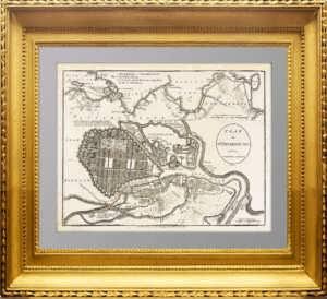 Старинный план Петербурга. 1782г.  Антикварный VIP подарок в кабинет