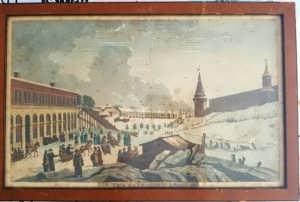 Вид на Кремль и на катальные ледяные горки. 1817г. Антикварная гравюра