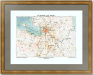 Петербург с окрестностями. 1880 г. Старинная карта - антикварный подарок