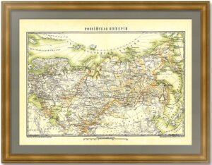 Российская империя. Обзорная старинная карта. 1896 г. Издательство Гранат