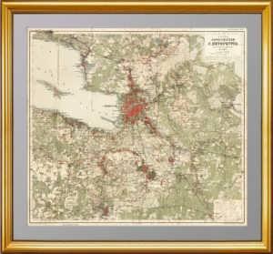 Петербург с окрестностями. 1912г. Антикварная карта. Лист 64x71 см.