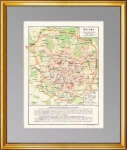 Москва. Схематический план. 1930 г. Оригинальная старинная карта