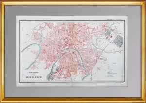 Москва 1886г. Антикварный план города — ВИП подарок. 50×70 в паспарту