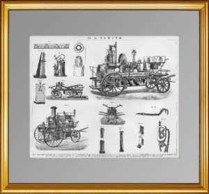 Пожарное дело. 1896г. Старинная гравюра - подарок МЧС