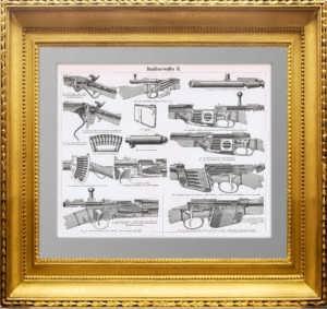 Ручное огнестрельное оружие. 1896г. Подарок охотнику. Старинная гравюра