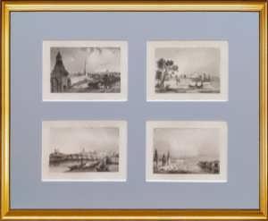 Москва. Городские виды. 1838г. Набор N1 из четырёх антикварных гравюр.