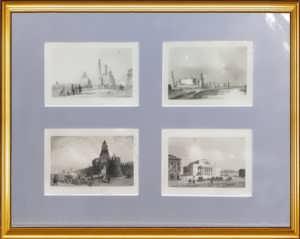 Москва. Городские виды. 1838г. Набор N2 из четырёх антикварных гравюр