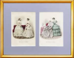 Парижская мода. 1847г. (март) и 1848г. (апрель). Набор N2 из двух антикварных гравюр