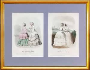 Парижская мода. 1847г. (май и август).  Набор N3 из двух антикварных гравюр