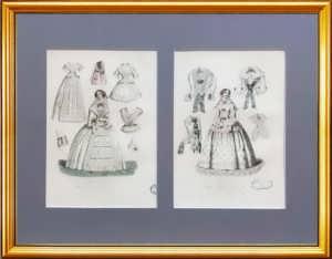 Парижская мода. 1855г. (март и сентябрь). Набор N1 из двух антикварных гравюр