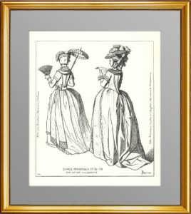 Наряды французских дам XVIII века. (Лист 194) Жакмин. 1869г. Антикварная гравюра