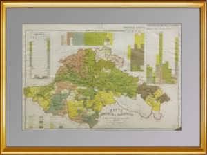 Тифлисская губерния и Закатальский округ. 1886г. Антикварная карта.
