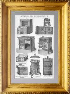 Кухонные плиты и варочные машины. 1896г. Старинная гравюра