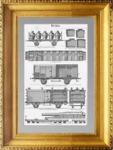 Вагоны железнодорожные. 1897г. Гравюра. Антикварный подарок в кабинет железнодорожника