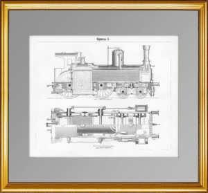 Паровозы (курьерский паровоз). 1897г. Антикварная гравюра - подарок железнодорожнику