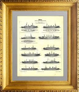 История флота. Обзор крейсеров XIX века. 1899г. Старинная гравюра