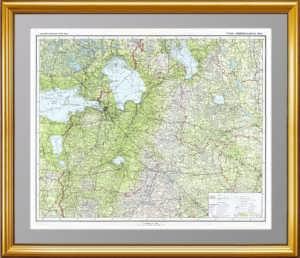 Ленинградская область. 1939г. Лист 54х72. Старинная карта