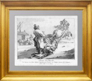 Возвращение с рынка. 1765г. Лепренс. Антикварная гравюра - музейный экземпляр
