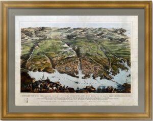Севастополь. Панорамный вид. 1855г. Старинная литография. Лист 56x76! Музейный экземпляр