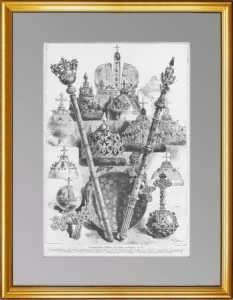 Коронационные регалии российских императоров. 1883г. Старинная гравюра - антикварный подарок