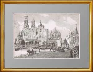 Москва. Кремль. Успенский Собор перед коронацией. 1883г. Чагот. Старинная гравюра