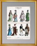 История костюма. 1890г. N661. Ампирная мода. Старинная гравюра.