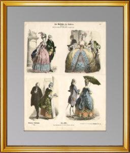 """История костюма. 1890г. Мода """"галантного века"""". N373. Старинная гравюра. Антикварный подарок"""