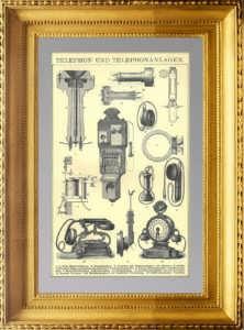 Телефон и телефонные системы. 1896г. Старинная гравюра