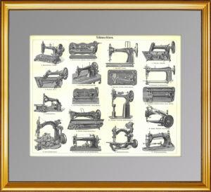 Швейные машинки XIХ века. 1896г. Старинная гравюра