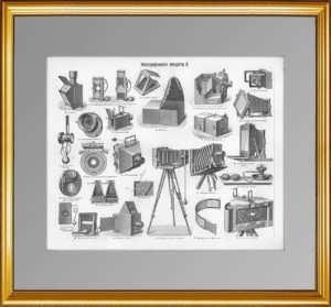 Фотографические аппараты. 1897г. Старинная гравюра - антикварный подарок