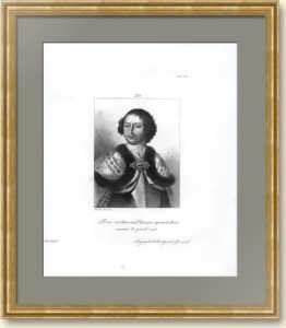 Петр I. Антикварный портрет. 1838г. Старинная гравюра. Галерея Версаля.