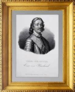 Пётр I  Великий. 1840г. Леруа. Старинный гравированный портрет