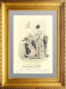 Женская и детская летняя мода. 1843г. Август. Акварельная раскраска. Старинная гравюра