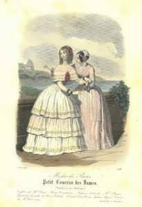 Летние платья для прогулок. Париж. 1847г.  Ручная акварельная раскраска. Старинная гравюра