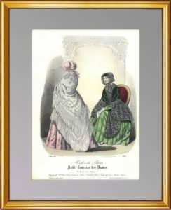 Весенняя уличная мода. 1848г. Ручная акварельная раскраска. Старинная гравюра