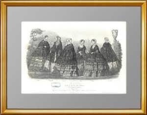 Весенняя мода для прогулок. 1855г. Париж. Старинная гравюра