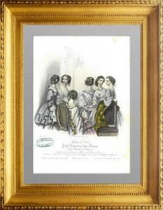 Праздничные причёски и платья.  1856г. Париж. Акварельная раскраска. Старинная гравюра