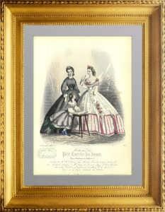 Женская и детская летняя мода. 1863г. Ручная акварельная раскраска. Старинная гравюра